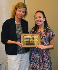 President Elect Stacey Sigmon with Oustanding Dissertation Award winner Allison Kurti