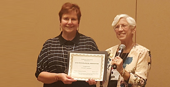 Nan Klein, PhD, of the Utah Psychological Association was recognized by President Knauss for the association's success in passing legislation to become part of PSYPACT.