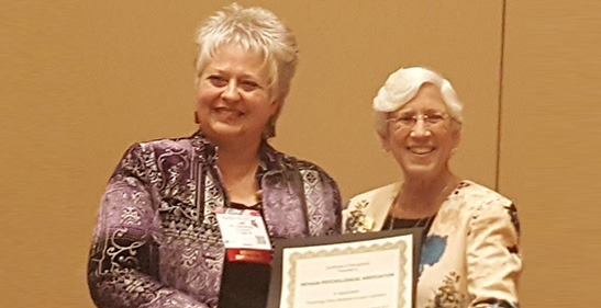Lisa Linning, PhD, on behalf of the Nevada Psychological Association, was recognized for Nevada's successes in passing legislation to become part of PSYPACT, for achieving Medicaid reimbursement for services provided by doctoral interns, and for successfully changing the corporate practice law to allow psychologists to partner with physicians for integrated health care practices.