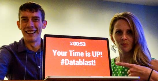 The organizers/enforcers of the data blast, 2017 Convention Chair Kelly Dun, PhD, and Student Representative Justin Strickland.